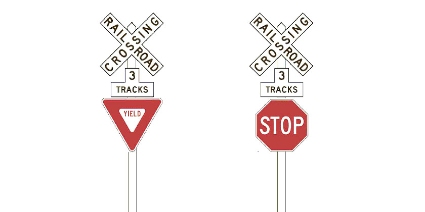 Yield or Stop sign with the Crossbuck sign - by Xzelenz Media