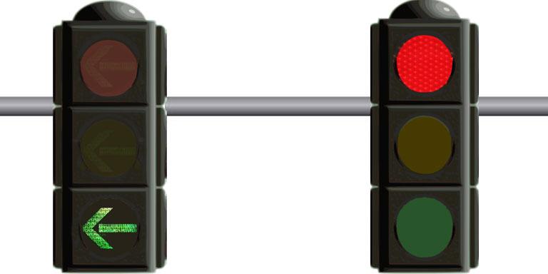 Left turn arrow signal - United States