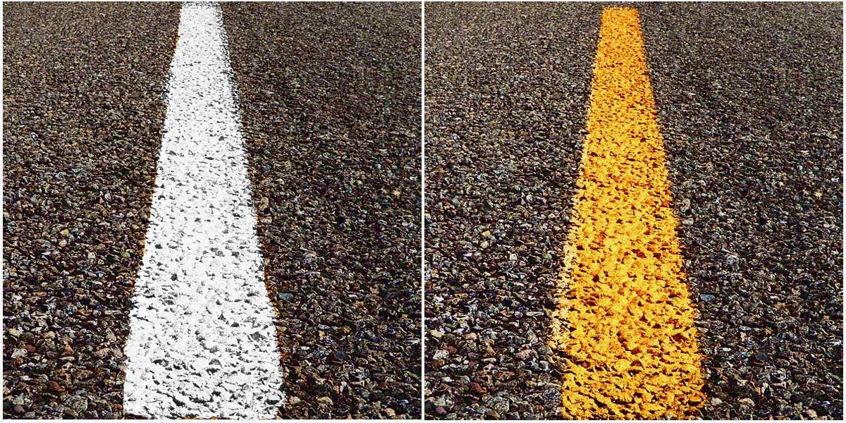 DMV test Questions about pavement markings
